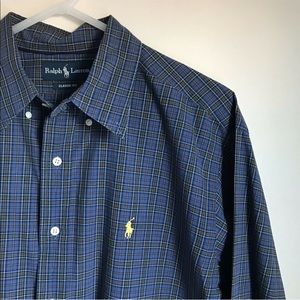 Vintage Ralph Lauren Plaid Blue Button Front Shirt